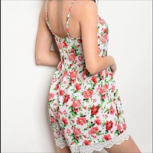 Pants - Floral Romper with Spaghetti Straps